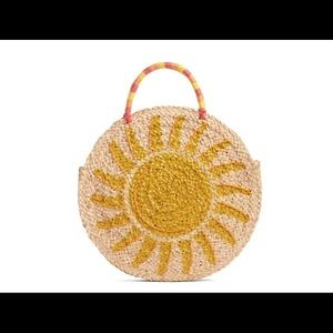 Shine Raffia Circular Tote NWT